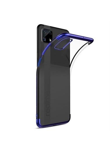 Microsonic Realme C25 Kılıf Skyfall Transparent Clear Gold Mavi